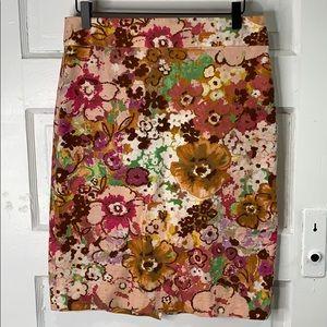 J Crew Watercolor Pastiche Pencil Skirt
